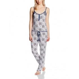 Combinaison Pyjama fines bretelles imprimé - Bleu/Blanc