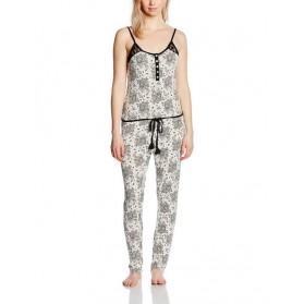 Combinais Pyjama fines bretelles imprimé - Ecru & Noir
