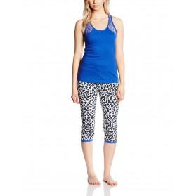 Pyjama corsaire et haut uni avec dentelle Bleu GRANDE TAILLE