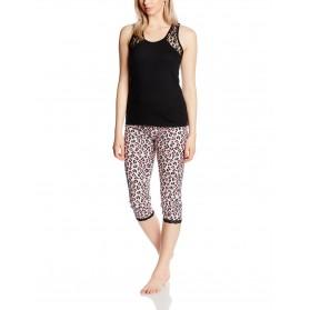 Pyjama corsaire et haut uni avec dentelle noir