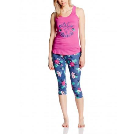 Pyjama corsaire col rond et dos nageur Skin/Kaki
