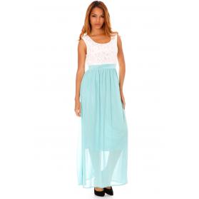 Robe Longue bicolore - Vert & Blanc