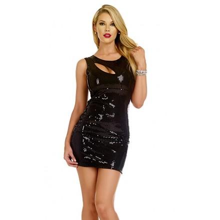 Robe sexy Sequins VIGOR - Noir
