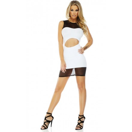Robe illusion bodycon moulante - Noir & Blanc