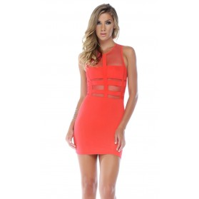 Robe illusion bodycon moulante - Rose