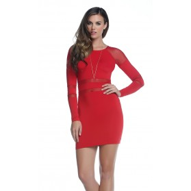Robe Camryn avec Manches longues - Rouge