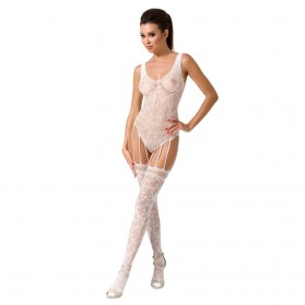Bodystocking effet porte-jarretelle-rouge