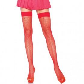 Bas transparents avec couture arrière-Rouge