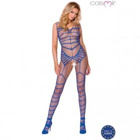 Bodystocking sexy à bretelles ouvert-Bleu