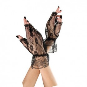 Gants en dentelle sans doigt-Noir