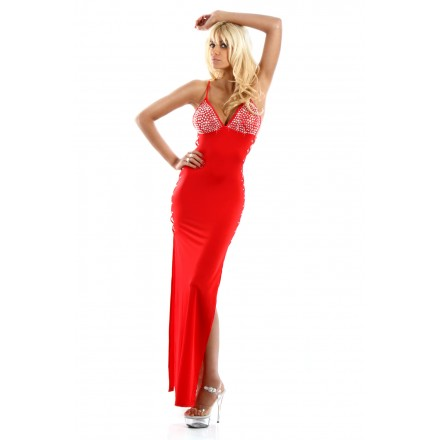 Robe Lycra dos nu sans manches - Rouge