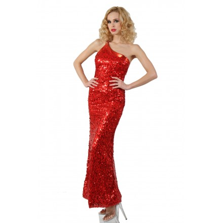 Robe longue en sequin - Rouge